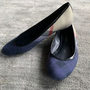Burberry plaid ballet flats navy ombré... 38 1/2